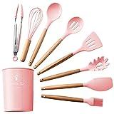 Wudhrnu Cocinar Clip Kit de Silicona Accesorios Espaguetis Alimentación Herramientas de Aceite Cepillo Espátula de Cocina batidor de Huevo Pink