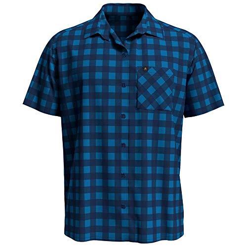 Odlo Herren Mythen Kurzarm-Hemd, Blue Aster-Estate Blue-Check, L