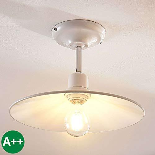 Lampenwelt Deckenlampe 'Phinea' dimmbar (Retro, Vintage, Antik) in Weiß aus Metall u.a. für Wohnzimmer & Esszimmer (1 flammig, E27, A++) - Deckenleuchte, Lampe, Wohnzimmerlampe