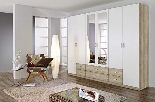 Rauch Möbel Gamma Schrank Drehtürenschrank Kleiderschrank in Eiche Sanremo hell und Weiß mit Spiegel 6-türig, inklusive Zubehörpaket Basic 3 Kleiderstangen, 3 Einlegeböden BxHxT 271 x 210 x 54 cm