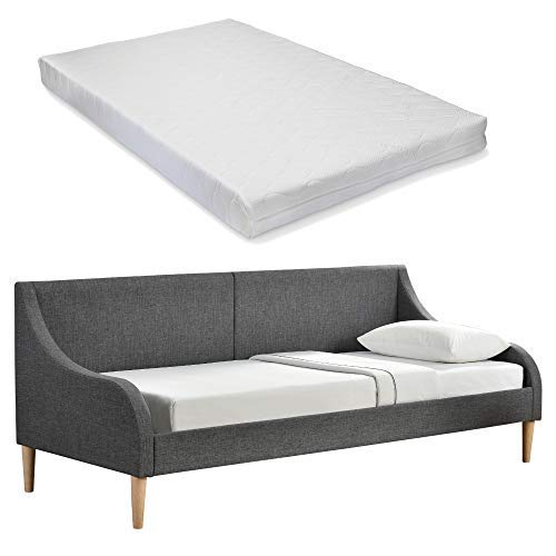 [en.casa] Tagesbett Bettsofa mit Matratze 200x90cm Öko-Tex Standard 100 Allergikergeeignet Kojenbett Einzelbett Dunkelgrau