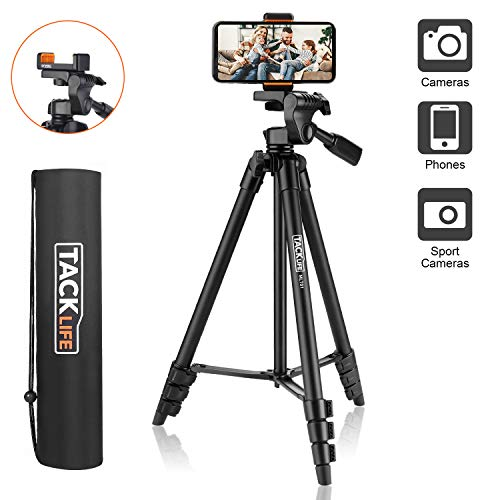 Lightweight Tripod 55-Inch, Aluminum Travel/Camera/Phone Tripod with Carry Bag, Maximum Load Capacity 6.6 LB, 1/4