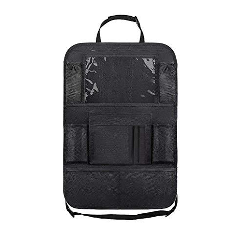 VastSea Organizador de asiento trasero de coche con soporte para tableta de pantalla táctil + 9 bolsillos de almacenamiento, alfombrillas protectoras para asiento de coche para niños