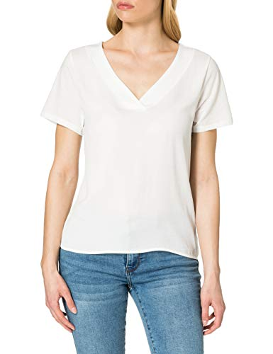Only ONLAVA S/S V-Neck Mix Woven Top JRS Camiseta, Cloud Dancer, S para Mujer