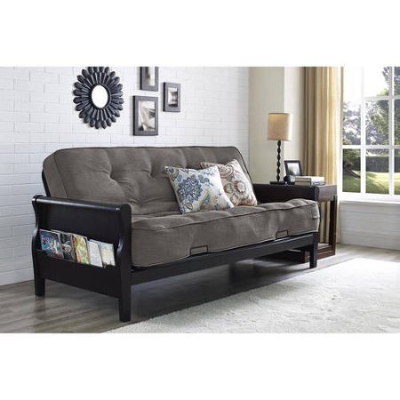 """Better Homes and Gardens Wood Arm Futon with 8"""" Coil Mattress- Gray Linen"""