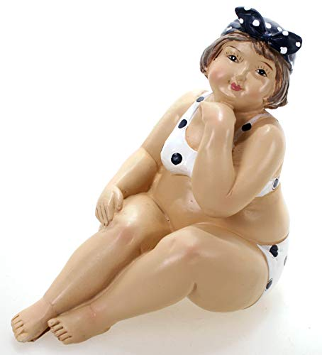 Badenixe im weißen Bikini sitzend 13 cm Mädchen Rubensfrau mollige Dame Dicke Frau Schwimmerin Figur