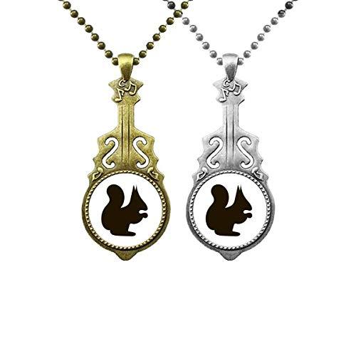 Black Squirrel Animal Portrayal Music Guitar Pendant Jewelry Necklace Pendant Couple