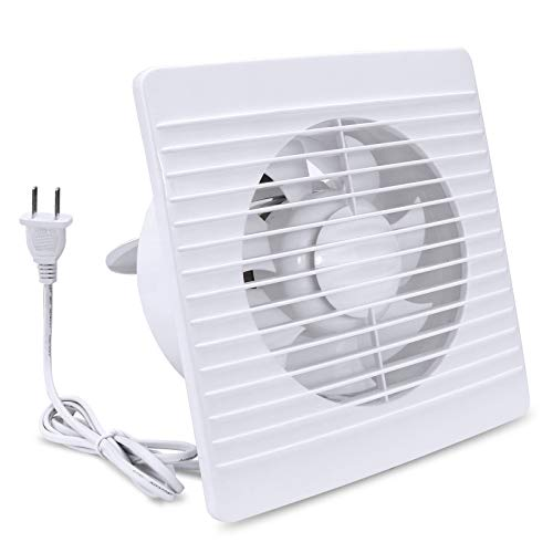 """Home Exhaust Fan 4 Inch Window Wall Mount Ventilation with Auto Check Valve Anti Backflow 76 CFM 12W 110V Power Cord US Plug Extractor for Bathroom Basement Garage Kitchen, 6""""×6"""" Grid Panel, White"""