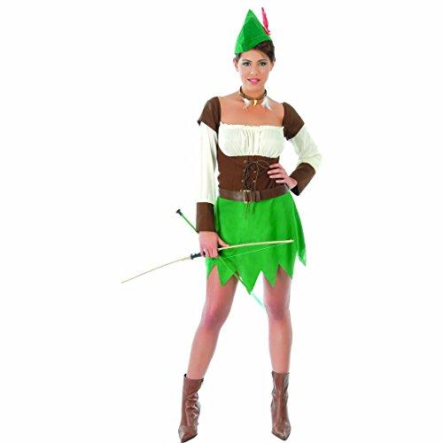 NET TOYS Travestimento da Arciere Donna Costume Medievale viandante della Foresta L 46/48 - Abito da tiratrice Outfit da ladra Vestito di Carnevale da Robin Hood per Donne Completo Stile Medioevo