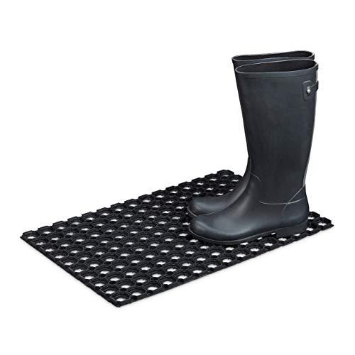 Relaxdays – Felpudo Antideslizante para la Entrada de su hogar Hecho de Goma/Caucho con Medidas 40 x 60 cm Elemento Decorativo Resistente a la húmedad, Color Negro