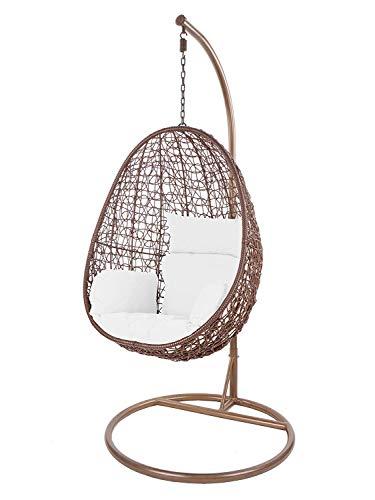 Kideo Swing Chair Sillón Colgante Hamaca Sillón de Descanso Muebles de Salón *Eyecatcher* - Marrón/Blanco