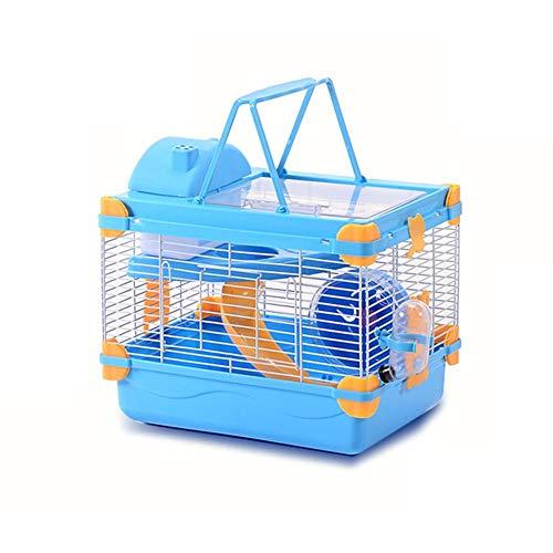 Hamsterkäfig Nagerkäfig Mäusekäfig Mit Laufrad, Mit Wasserflasche, Häuschen Und Rutsche In Blau Oder Brown, Doppelschicht Transportbox Für Hamster Nager Mäuse Mit Rohrsystem, Hamsterrad Und Spielzeug