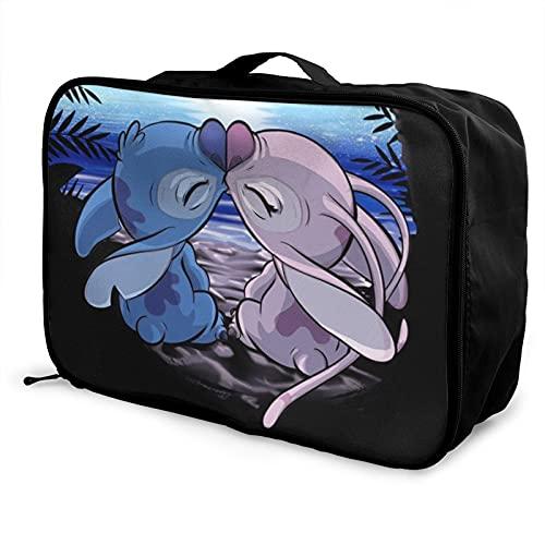 Lilo Stitch Bolsa de viaje impermeable a la moda, ligera, de gran capacidad, portátil, bolsa de equipaje de fin de semana