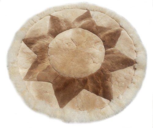 Alpacaandmore Alfombra de piel de alpaca peruana para salón, diseño de puntas, color beige, redonda, 100 cm