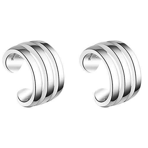 MYA art Damen Ohrklemme Ohrringe 925 Silber Geometrisch Ear Cuff Fake Ohr Helix Cartilage Piercing Ring Hoop Klemmring Clip On