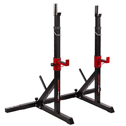 Ultrasport Soporte para pesas / soporte de barra larga, de acero con recubrimiento en polvo, carga máxima 200 kg, soporte para barra, accesorio para barra larga, soporte para pesas