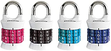 Master Lock 1535DWD Vertical Resettable Word Combination Padlock, 4-Pack, Color May Vary