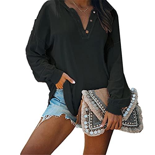 Camiseta de manga larga de color sólido para mujer Blusa superior informal Camisa Blusa Tops Camisa casual de manga larga Suéter Camisa suelta Blusa Elegante Hombros caídos Tops con cuello en V Camisa