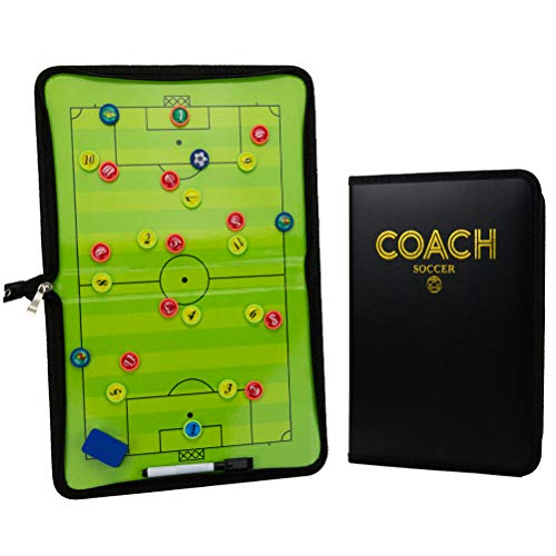Xtreme Sport DV Premium Soccer/Football Tactics Board - Dry Erase Coaching Strategy Board with Pen, Eraser and Player Medallions