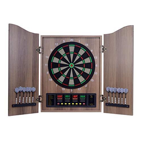DPPAN Elektronische Dartscheibe Dartboard mit Holz Cabinet, LCD-Anzeige 4 automatische Zählen, 27 Spielen 243 Varianten 16 Spieler,Wood