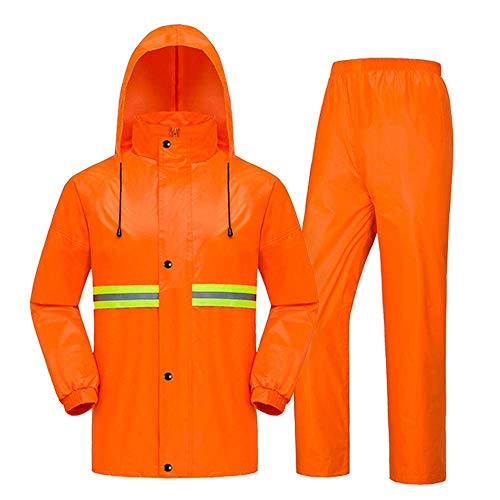 YXF Waterproof Raincoat Waterproof Jacket/Trouser Suit Mens Hi-Vis High Visibility Safety Jacket Reflective Stripes Raincoat Suit Adult (Size : XXXXL) (Size : X-Large)