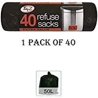 Unidades 40 basura de servicio pesado con cordón capacidad 50L - ideal para Industries, oficinas, garajes Etc