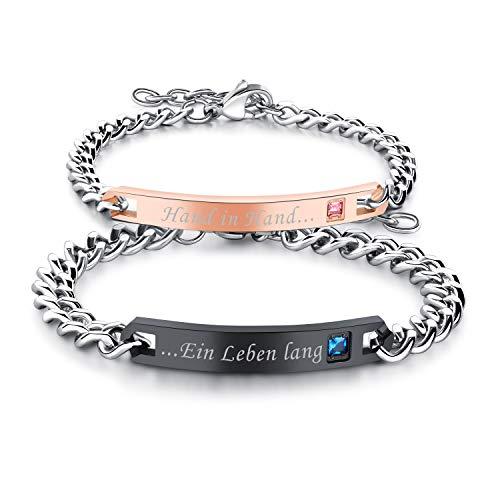 """Cupimatch Paare Armband mit Gravur""""Hand in Hand, EIN Leben Lang"""" für Verliebte Edelstahl Schmuck Damen Silber Farbe"""