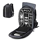 Abonnyc Camera Backpack Fit 2 Pro-Sized DSLR/SLR Camera Bag, 3-6 Lenses, 15.6 inch Laptop for Outdoor Travel with Rain Cover, Black