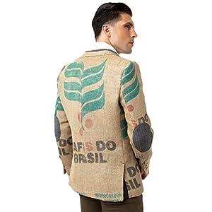 Designer-Herrensakko aus brasilianischen Kaffeesäcken mit originalen Kaffeefarm-Prints, Olivenholz-Knöpfen & Ellenbogen…