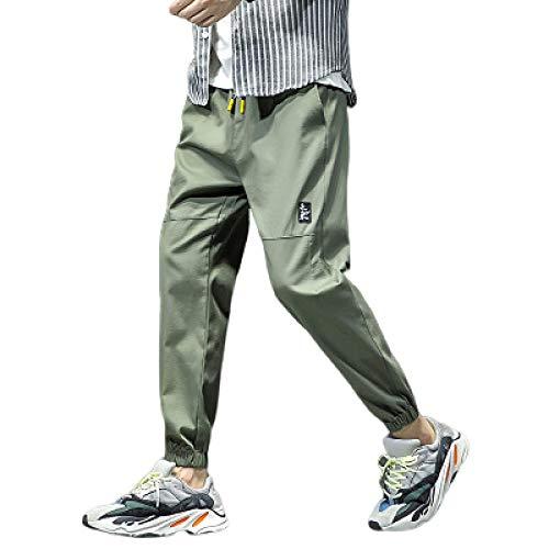 Pantalones Casuales con pies en viga para Hombre Costura Color Liso Ajuste Holgado Transpirable Cordn Cintura elstica Pantalones harn 3X-Large