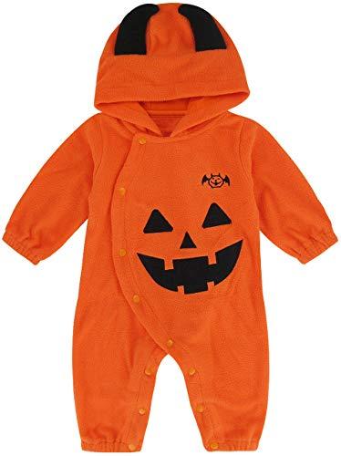 MOMBEBE COSLAND Pagliaccetto Bimbo Neonato Halloween Zucca Costume Tutine, Colore Arancione, 0-6 mesi, Taglia del produttore 70