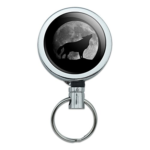 Wolf Howling Moon Silhouette Heavy Duty Metal Retractable Reel ID Badge Key Card Tag Holder with Belt Clip