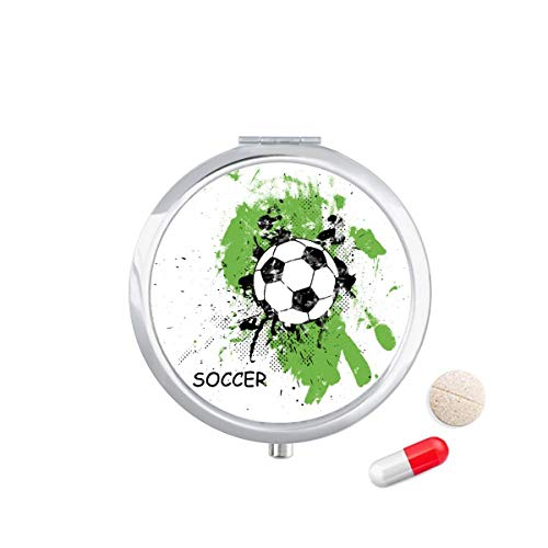 DIYthinker Spelen Voetbal Voetbal Sport Travel Pocket Pill Case Medicine Drug Opbergdoos Dispenser Spiegel Gift