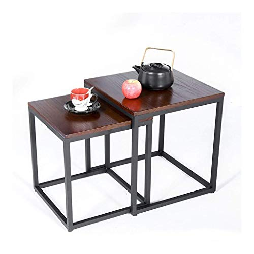Escritorio de oficina en casa Clásica de madera maciza mesa de café combinación de hierro forjado mesa auxiliar extraíble doble habitación de hotel laterales de la cama Tablas Nest multifuncional mesa