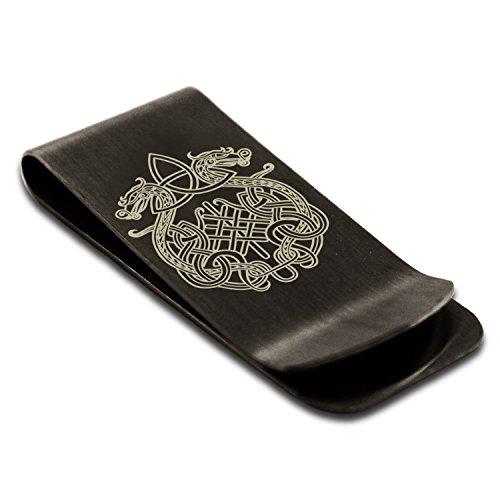 Matte Black Stainless Steel Dragon Knot Skuld's Net Viking Rune Symbol Money Clip Credit Card Holder