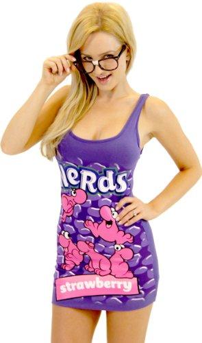 Nerds Candy Strawberry Juniors Purple Tunic Tank Dress with Nerd Glasses (Juniors Medium)