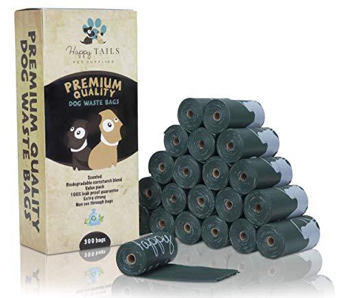 Happy Tails 315 Sacs à déjections canines | 21 rouleaux | Biodégradables | Qualité premium | Extra Large, épais et solide | Sacs à déjections canines | Parfumés | Anti-fuites