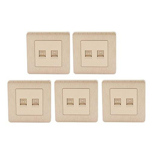N/D - Lote de 5 contadores para teléfono con 2 puertos para placa de pared, 86 x 86 mm, color dorado