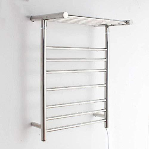 FWZJ Handtuchwärmer und Wäscheständer, an der Wand montierter elektrischer beheizter Handtuchheizkörper mit 12 Stangen, eingebauter Thermostat, Handtuchhalter aus Edelstahl für Badezimm