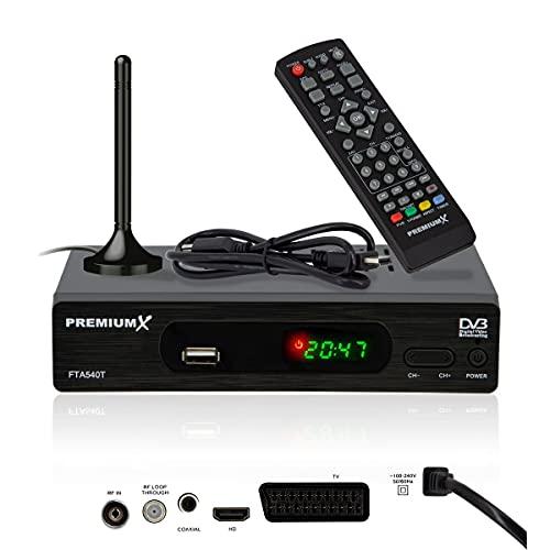 PremiumX FTA 540T Full HD Digitaler DVB-T2 terrestrischer TV Receiver H.265 HEVC | USB Mediaplayer SCART HDMI | Fuba Antenne mit Magnetfuß | Auto Installation