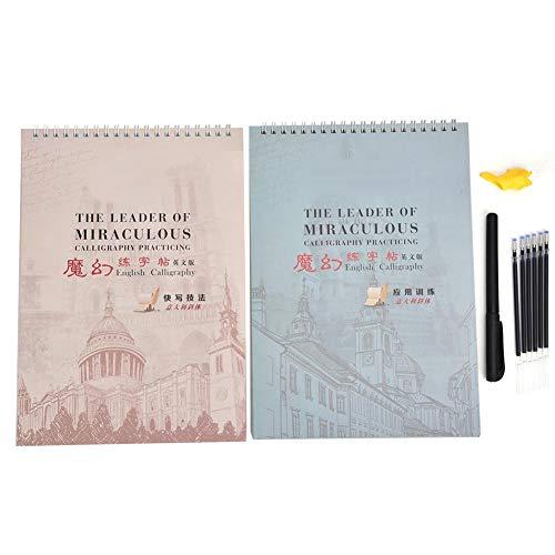 Cuaderno de caligrafía - Cuaderno de caligrafía en cursiva en inglés italiano con ranura reutilizable para niños y estudiantes adultos