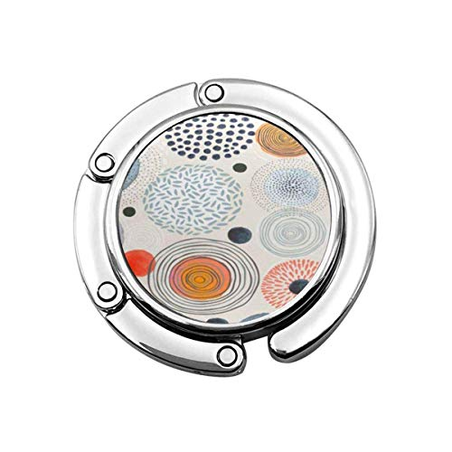 Folding Purse Handbag Hanger,Purse Hook for Car Table,Foldable Handbag Storage Watercolor Pattern Doodle Circles Randomly Distributed Abstraction Gray Abstract