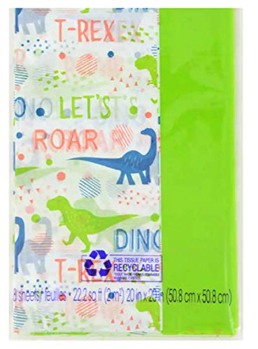 Dinosaur Pack of Decorative Gift Wrapping Tissue Paper - Perfect for Bags, Boxes, Crafting and More! All Occasion, Birthday, Holiday