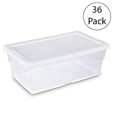 Sterilite 16428012 6 Quart/5.7 Liter Storage Box, White Lid with Clear Base, 36-Boxes