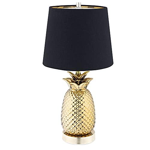 Navaris Tischlampe im Ananas Design - dimmbar - 44cm hoch - mit E27 Leuchtmittel - Touch Lampe für Nachttisch Beistelltisch - Dekolampe Gold-Schwarz