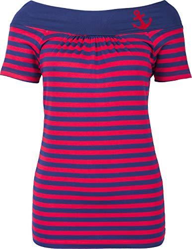 Küstenluder Damen Oberteil Adelina Anker Shirt (2XL, Blau-rot gestreift mit Anker)