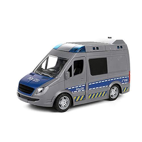 Toi-Toys Cars & Trucks 23416B - Coche de policía con sirena, coche de policía + luz y motor de retirada