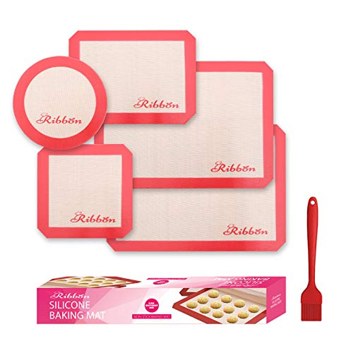 Silicone Baking Mats Set of 5-2 Half Sheet Mat,1 Quarter Sheet Liner,1 Round &1 Square Cake Pan Mats - Reusable Nonstick Food Safe Silicon - Perfect for Macaron and Cookie, Baking mats for oven