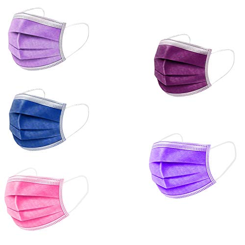 50 Stück Rosa/Lila/Blau 3 lagig Mund-Nasen-Schutz Atmungsaktive Einmal-Mundschutz Sport im Freien Motorrad Fahrrad Staubschutz Bandana (50, D)
