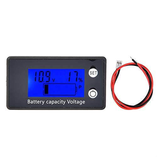 Voltímetro digital, LCD Voltímetro digital Equipo de voltaje de batería portátil mediano Herramienta industrial DC 10-100V con conector enchufable(10-100V) Azul)